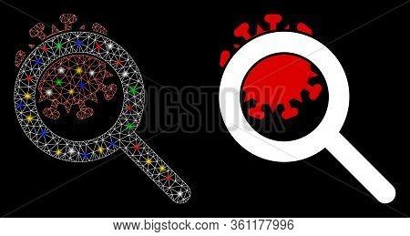 Flare Mesh Explore Coronavirus With Sparkle Effect. Abstract Illuminated Model Of Explore Coronaviru