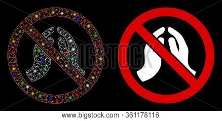 Flare Mesh Stop Praying Hands With Lightspot Effect. Abstract Illuminated Model Of Stop Praying Hand