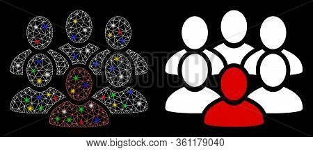 Glowing Mesh People Crowd With Glare Effect. Abstract Illuminated Model Of People Crowd Icon. White