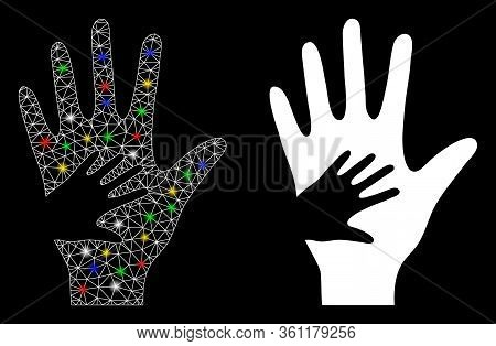 Bright Mesh Help Hand With Glare Effect. Abstract Illuminated Model Of Help Hand Icon. White Wire Fr