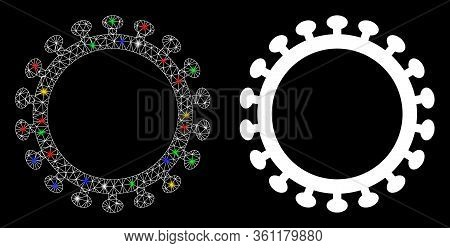 Glossy Mesh Virus Shell With Glitter Effect. Abstract Illuminated Model Of Virus Shell Icon. White W