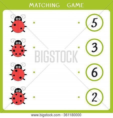 Educational Math Game For Kids. Count How Many Dots Ladybird Have And Connect With Number. Vector Il