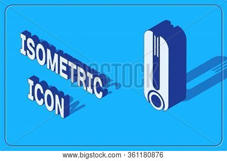 Isometric Curling Iron For Hair Icon Isolated On Blue Background. Hair Straightener Icon. Vector Ill