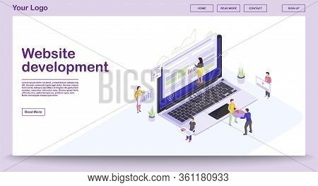 Website Development Webpage Vector Template With Isometric Illustration. Website Builder. People Bui