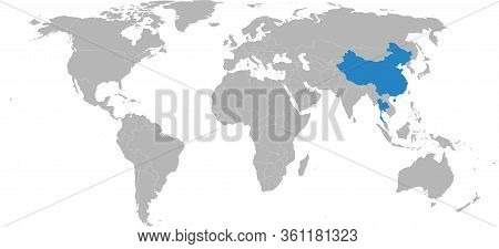 Thailand, China Countries Highlighted On World Map. Light Gray Background. Business, Bilateral Trade