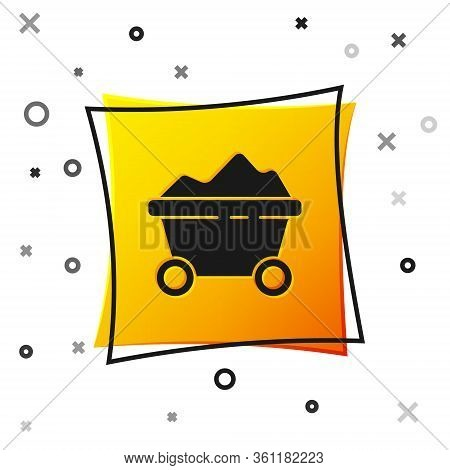 Black Coal Mine Trolley Icon Isolated On White Background. Factory Coal Mine Trolley. Yellow Square