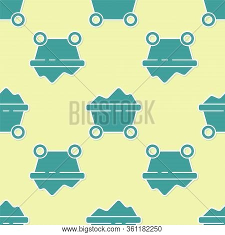 Green Coal Mine Trolley Icon Isolated Seamless Pattern On Yellow Background. Factory Coal Mine Troll