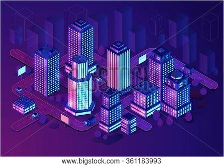 Smart Buildings Isometric Illustration. Architecture Concept. Intelligent Buildings. Smart City. Mod