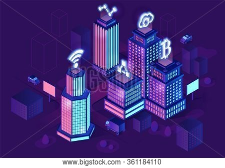 Smart Buildings Isometric Architecture Concept. Neon Futuristic City. Intelligent Buildings With Sig