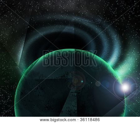 Planet near Black Hole Space Background