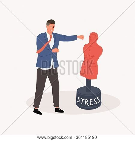 Getting Rid Of Stress Concept. Office Worker Punching A Pear Dummy. Vector Illustration