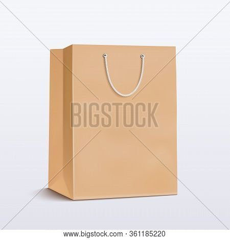 Paper Bag. Craft Package With Handle For Shopping, Advertising And Branding. Vector Illustration