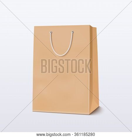 Brown Shopping Bag. Craft Package With Handle. Vector Illustration