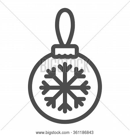 Glass Tree Toy With Snowflake Line And Solid Icon. Christmas Ball With Snowflake Outline Style Picto