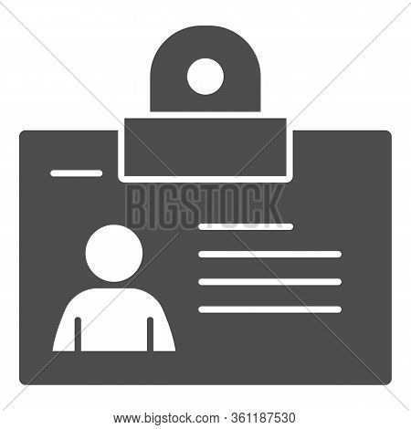Personal Badge Solid Icon. Id Card With Photo For Object Pass Glyph Style Pictogram On White Backgro