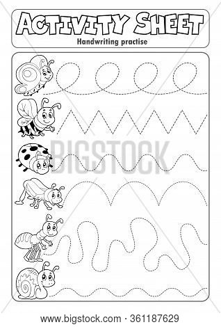 Activity Sheet Handwriting Practise 6 - Eps10 Vector Picture Illustration.