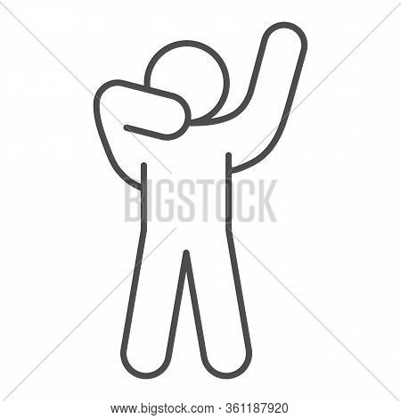 Man Silhouette Posing Thin Line Icon. Man In Front Pose With Raised Hands Outline Style Pictogram On