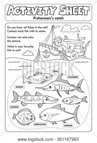 Activity Sheet Topic Image 8 - Eps10 Vector Picture Illustration.