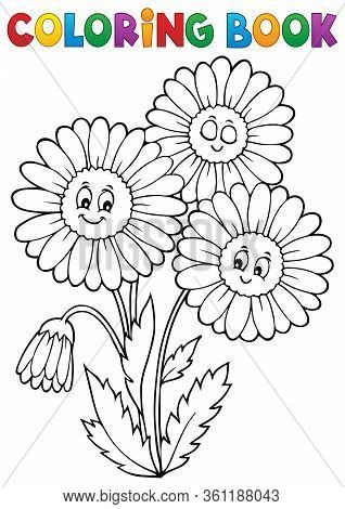 Coloring Book Daisy Flower Image 1 - Eps10 Vector Picture Illustration.