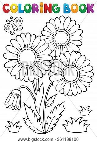 Coloring Book Daisy Flower Image 2 - Eps10 Vector Picture Illustration.