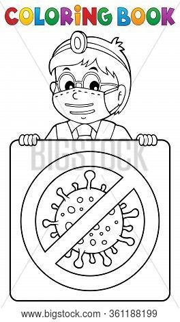 Coloring Book Doctor With Sign Theme 1 - Eps10 Vector Picture Illustration.