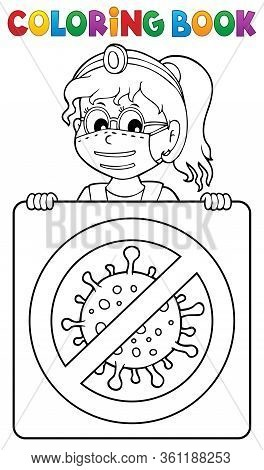 Coloring Book Doctor With Sign Theme 2 - Eps10 Vector Picture Illustration.