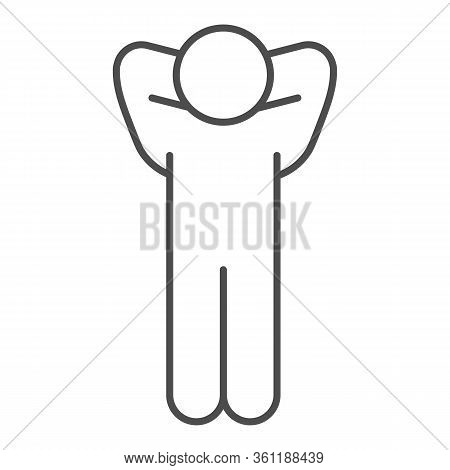 Success Pose Thin Line Icon. Man Pose With Hands Behind His Head Outline Style Pictogram On White Ba