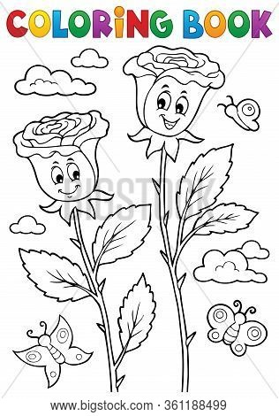 Coloring Book Rose Flower Image 2 - Eps10 Vector Picture Illustration.