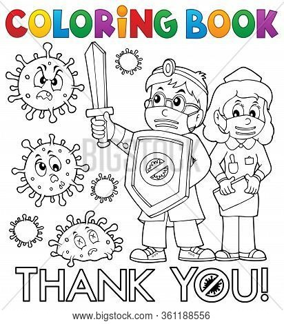 Coloring Book Thanks To Doctor And Nurse - Eps10 Vector Picture Illustration.