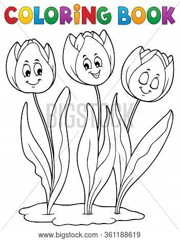 Coloring Book Tulip Flower Image 1 - Eps10 Vector Picture Illustration.