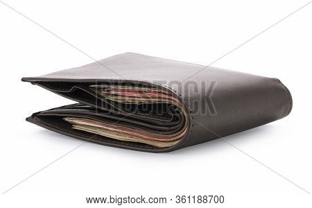 Side View Of Isolated Genuine Leather Brown With Many Banknotes On White Background. Cash Concept An