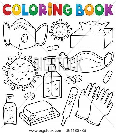 Coloring Book Virus Prevention Set 1 - Eps10 Vector Picture Illustration.