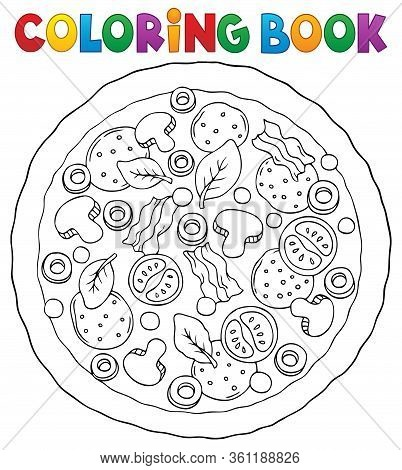 Coloring Book Whole Pizza Theme 1 - Eps10 Vector Picture Illustration.
