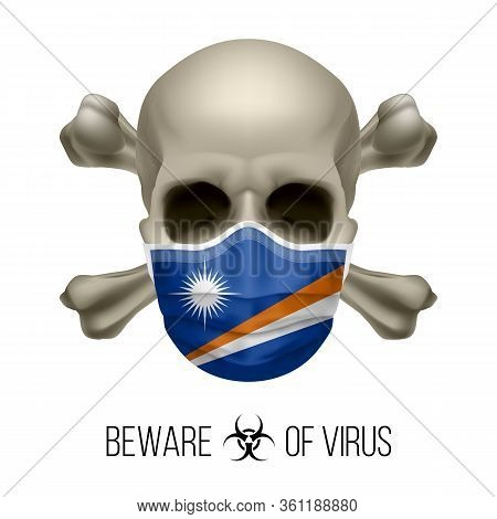 Human Skull With Crossbones And Surgical Mask In The Color Of National Flag Marshall Islands. Mask I