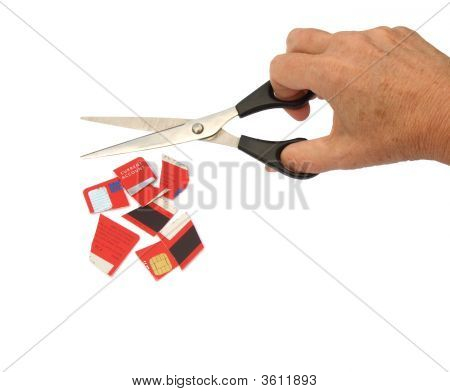 Credit Card Being Cut Up With Scissors