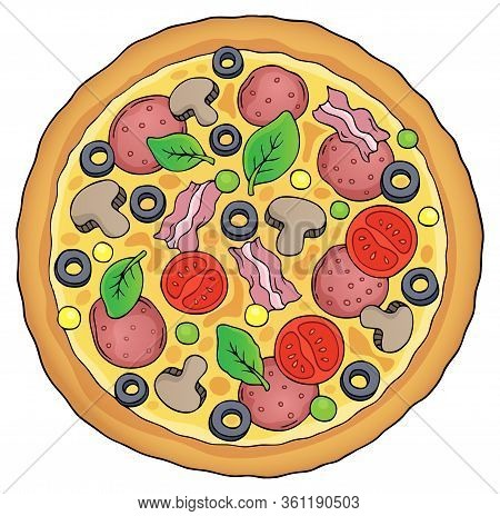 Whole Pizza Theme Image 1 - Eps10 Vector Picture Illustration.