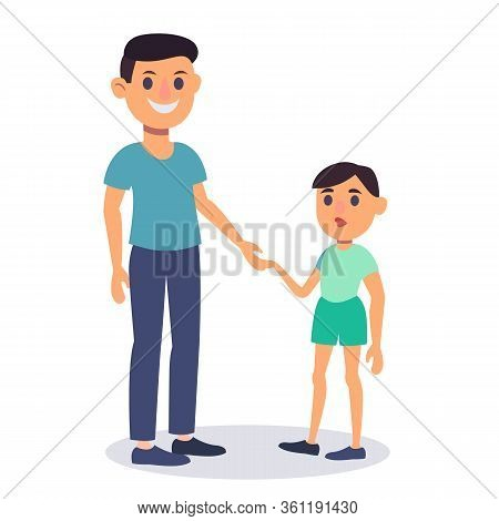 Happy Father With His Son Holding Hand. Colorful Flat Design Vector Illustration. Dad And Son Charac