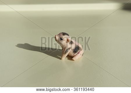 Very Small Toy Plastic Dirty Pig, Piglet With Shadow On A Wooden Table