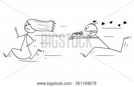 Vector Cartoon Stick Figure Drawing Conceptual Illustration Of Running Woman Or Girl And Amorous Man