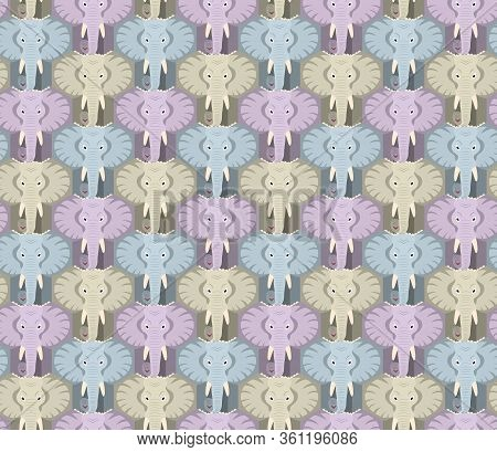 Seamless Elephant Head Pattern In Pastel Colors, Tessellation, Hexagon. Vector Illustration Eps 10