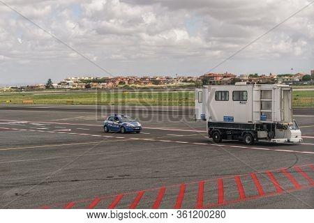 Rome, Italy - September 14 2017: Italian Police Force Car Patrol At Ciampino Airport Runway. State P