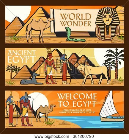 Ancient Egypt Travel, Wonders And Famous Landmarks. Cairo Pharaoh Pyramids And Sphinx, Ancient Egypt