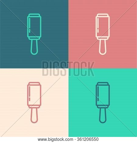 Pop Art Line Adhesive Roller For Cleaning Clothes Icon Isolated On Color Background. Getting Rid Of