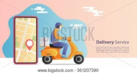 Online Express Delivery Concept. Delivery Man Riding Scooter Motorcycle For Service With Location Mo