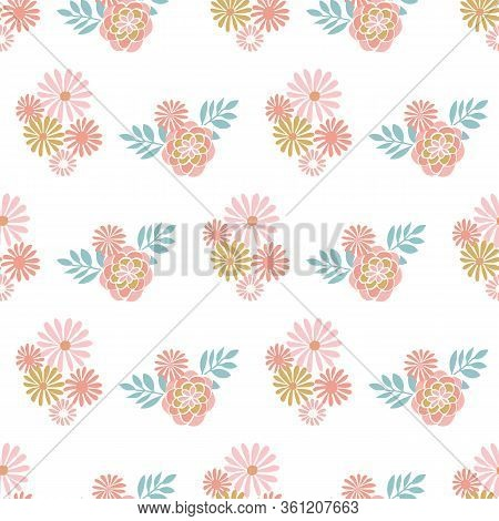 Tonal Floral Vector Repeat With Leaves. Perfect For Home, Kids, Stationary, Wrapping, Scrapbooking.