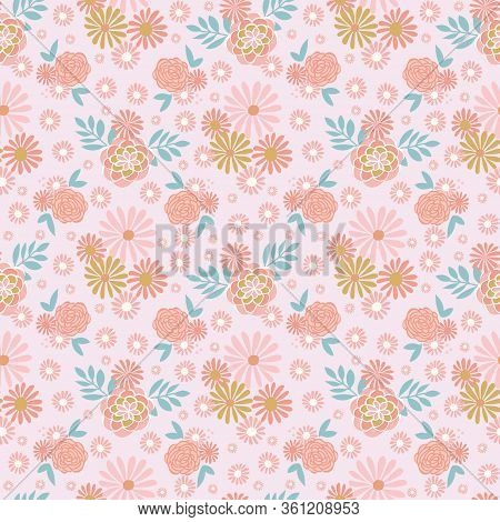 Tonal Floral Vector Repeat On Pink Background. Perfect For Home, Kids, Stationary, Wrapping, Scrapbo