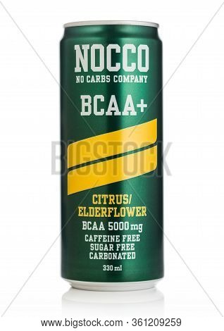 London, Uk - April 01, 2020: Aluminium Can Of Nocco Bcaa Caffeine Free Drink On White Background.