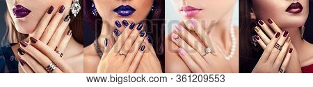 Nail Art Design. Four Looks Of Woman With Different Make-up And Manicure. Fashionable Jewellery. Bea