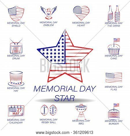 Memorial Day Star Colored Icon. Set Of Memorial Day Illustration Icon. Signs And Symbols Can Be Used