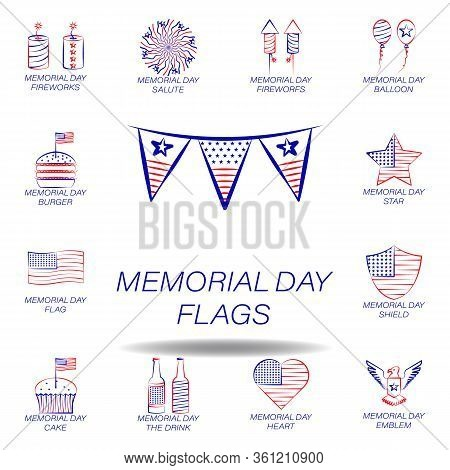 Memorial Day Flags Colored Icon. Set Of Memorial Day Illustration Icon. Signs And Symbols Can Be Use